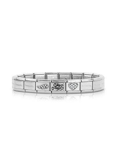Classic My Angel Stainless Steel Women's Bracelet w/Cubic Zirconia - Nomination