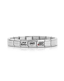My Family Enamelled Stainless Steel Bracelet w/Cubic Zirconia - Nomination