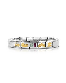 Classic Italia Golden Stainless Steel  Bracelet w/Cubic Zirconia Italian Flag - Nomination
