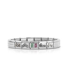 Travel in Italy Sterarling Silver and  Stainless Steel Bracelet w/Cubic Zirconia Italian Flag - Nomination