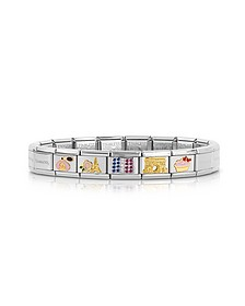 Classic France Golden Stainless Steel  Bracelet w/Cubic Zirconia Flag - Nomination