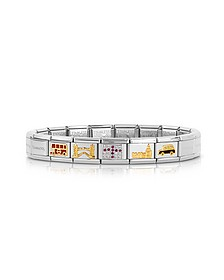 Classic England Golden Stainless Steel  Bracelet w/Cubic Zirconia Flag - Nomination