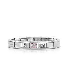 Classic Austria Sterling Silver and Stainless Steel  Bracelet w/Cubic Zirconia Flag - Nomination