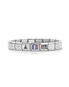 Classic Francia Stearling Silver and Stainless Steel  Bracelet w/Cubic Zirconia Flag - Nomination