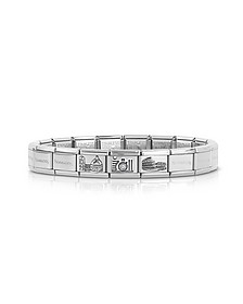 Classic Italia Stearling Silver and Stainless Steel Bracelet w/Cubic Zirconia Italian Flag - Nomination