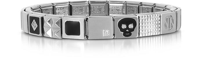 Steel Ikons Black Skull Stainless Steel Bracelet w/Cubic Zirconia - Nomination