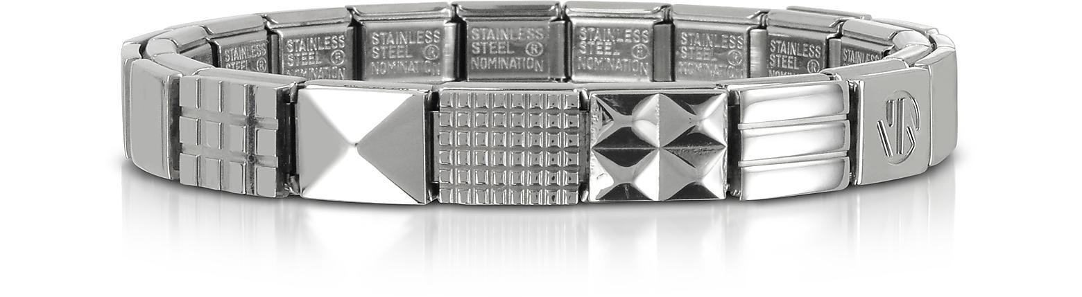 Steel Ikons Geometric Studs Polished Stainless Steel Bracelet
