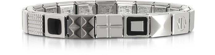 Steel Ikons Black Enamel and Brushed Stainless Steel Bracelet - Nomination