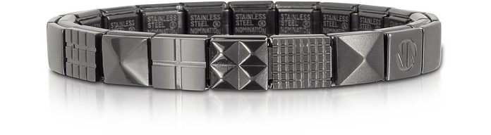 Steel Ikons Pyramid and Mesh Brushed Stainless Steel Bracelet - Nomination