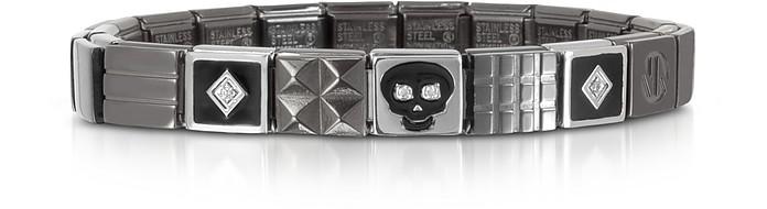 Steel Ikons Black Enamel and Brushed Stainless Steel Bracelet w/Cubic Zirconia - Nomination