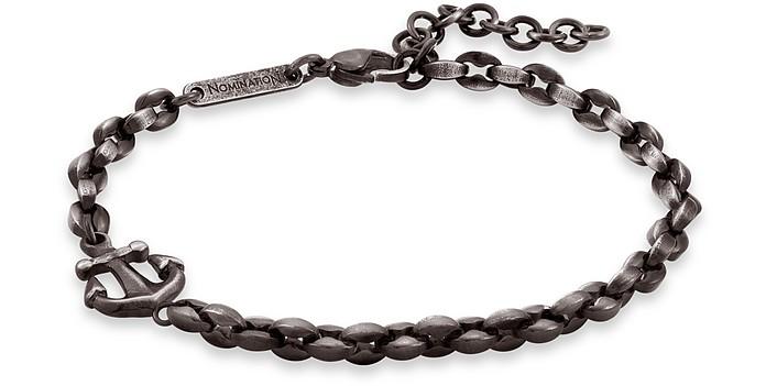 Black PVD Stainless Steel Men's Anchor Bracelet - Nomination