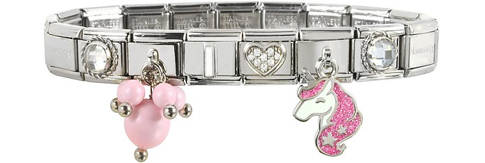 Pink Unicorn Sterling Silver & Stainless Steel Bracelet - Nomination