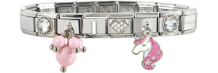 Braccialetto Pink Unicorn in Acciaio e Argento con Glitter - Nomination