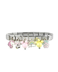 Rainbow Beads Sterling Silver & Stainless Steel Bracelet
