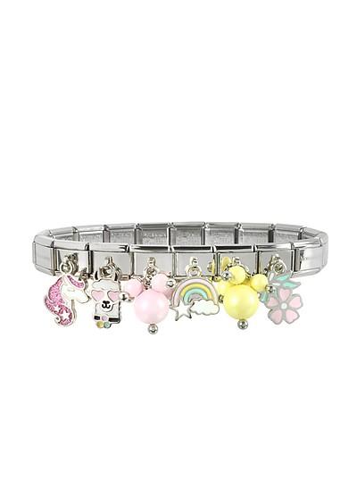 Rainbow Beads - Браслет из Стерлингового Серебра и Нержавеющей Стали - Nomination