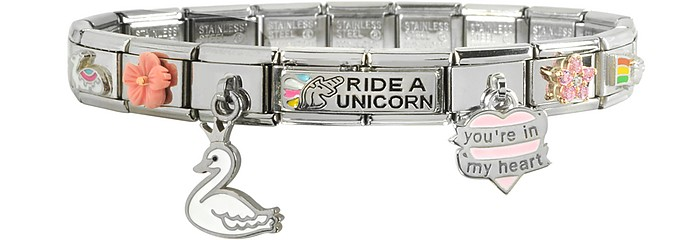 Ride a Unicorn Sterling Silver & Stainless Steel Bracelet - Nomination