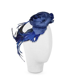 Alba - Night Blue Flower Feather Hat Disc - Nana'