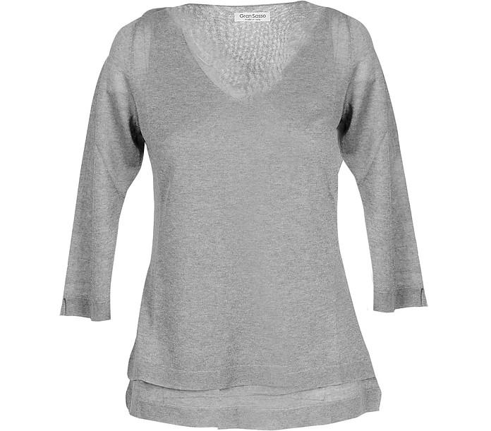 Gray Viscose Blend Women's Sweater - Gran Sasso