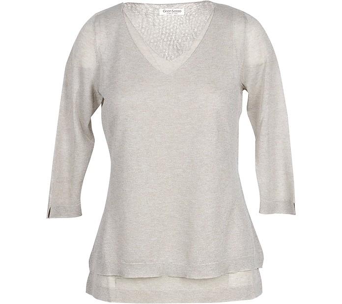 Beige Viscose Blend Women's Sweater - Gran Sasso