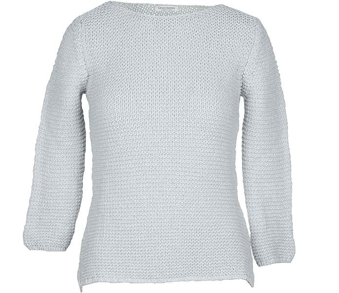 White Cotton & Lurex Women's Sweater - Gran Sasso