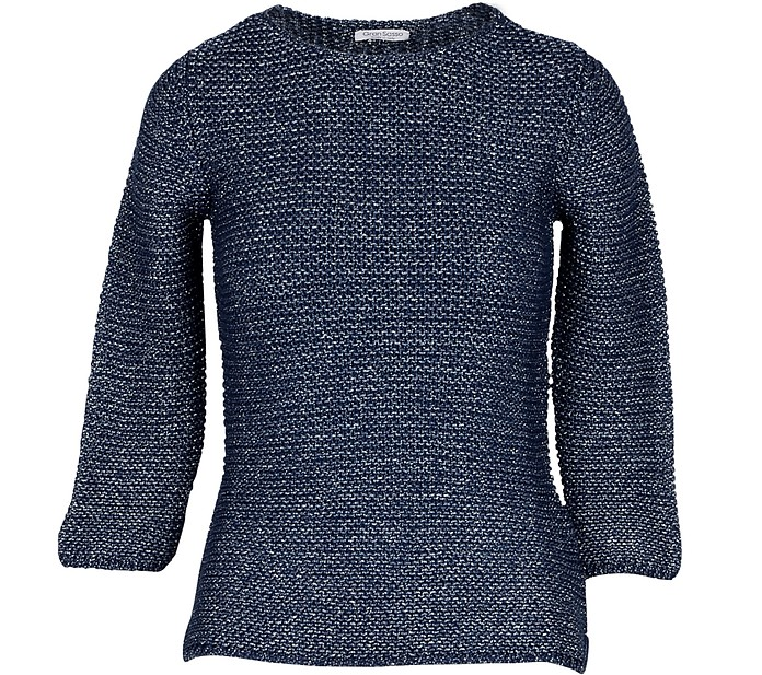 Blue Cotton & Lurex Women's Sweater - Gran Sasso