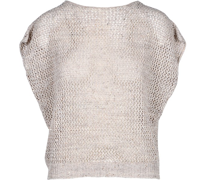 Beige Linen & Cotton Women's Sweater - Gran Sasso