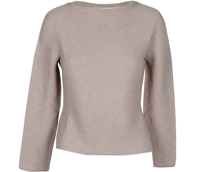 Taupe Cotton Women's Sweater - Gran Sasso