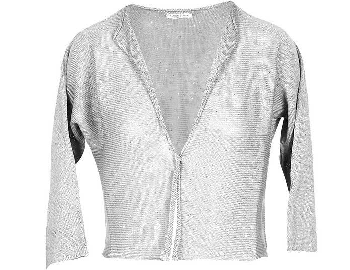 Pearl Gray Cotton Women's Sweater w/Lurex - Gran Sasso
