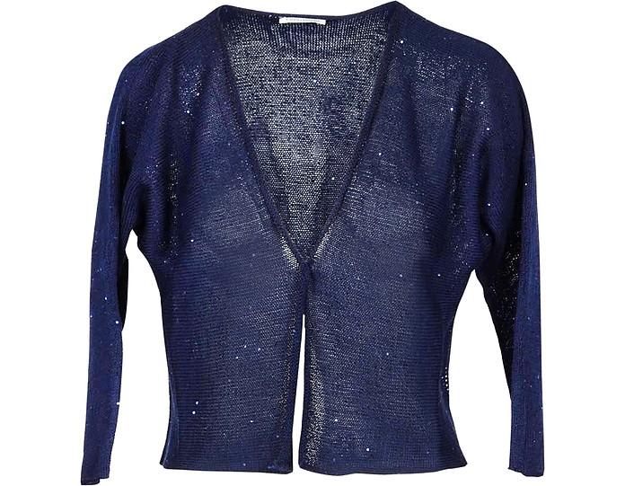 Midnight Blue Cotton Women's Sweater w/Lurex - Gran Sasso