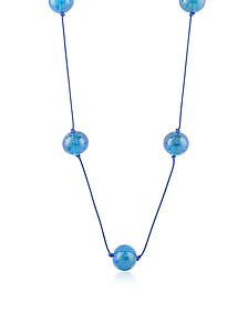 Blue Glass Bead Long Necklace - Naoto