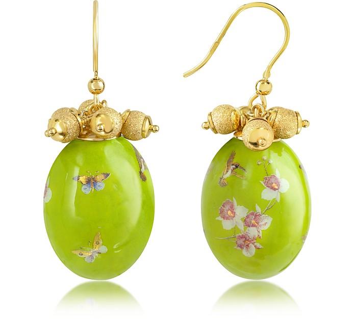 Alchimia - Oval Gold Foil Drop Earrings - Naoto