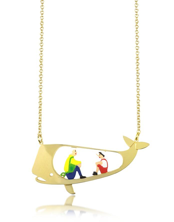 Marionnette de Bois Whale Long Necklace - N2