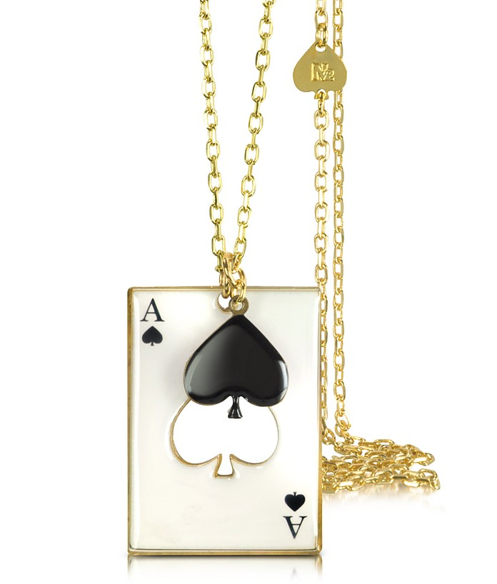 Black Heart w/ Card Charm Necklace - N2