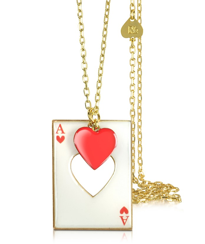 Red Heart w/Card Charm Long Necklace - N2
