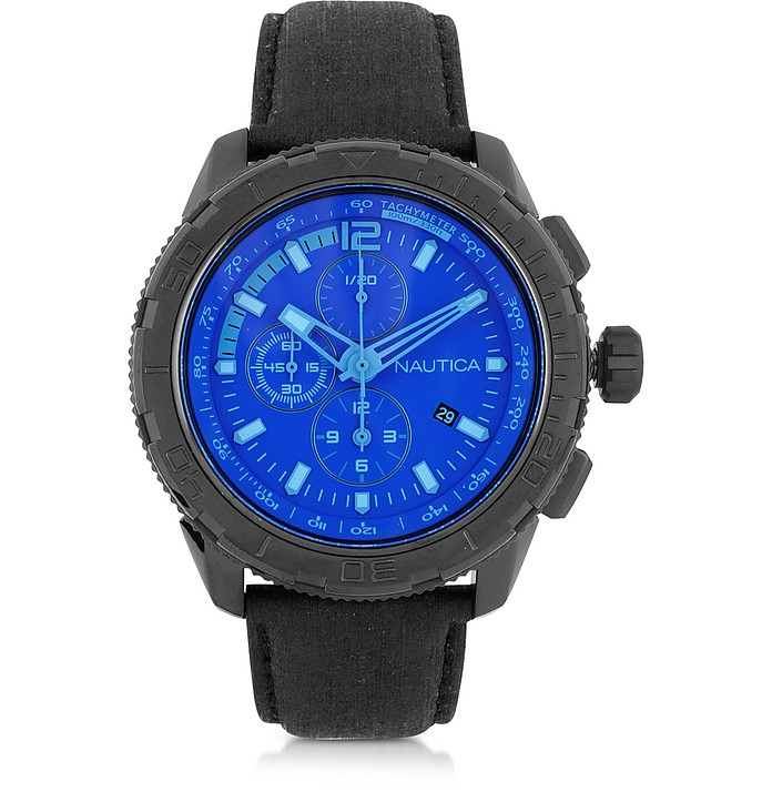 8c8cec569ae NST 101 Black Stainless Steel Case and Leather Strap Men s Chronograph Watch  - Nautica