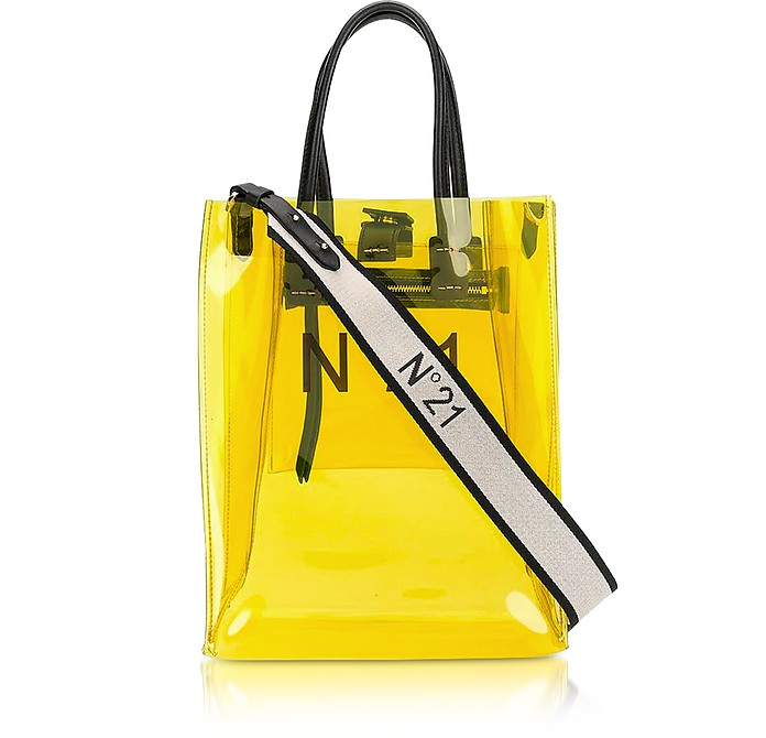 Transparent Yellow PVC Small Tote Bag w/Canvas Strap - N°21