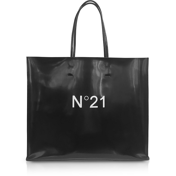 Black Patent Eco-Leather Large Tote Bag - N°21