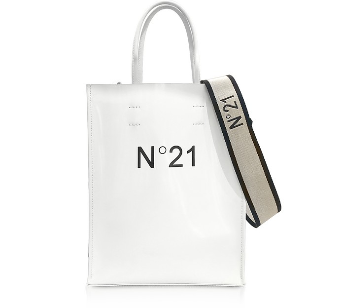 White Patent Eco-Leather Small Tote Bag - N°21