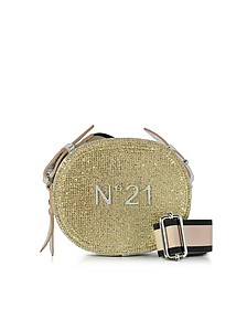 Silver and Gold Glitter Oval Crossbody Bag w/Metallic Embossed Logo - N°21
