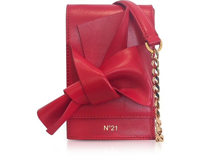 Red Nappa Leather Micro Bow Bag - N°21