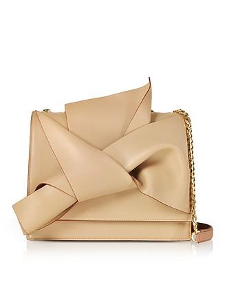 c60e10c387 Nude Bois de Rose Nappa Leather Large Bow Bag w Shoulder Strap - N