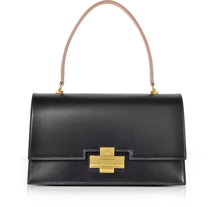 Black and Nude Leather Alice Satchel Bag - N°21