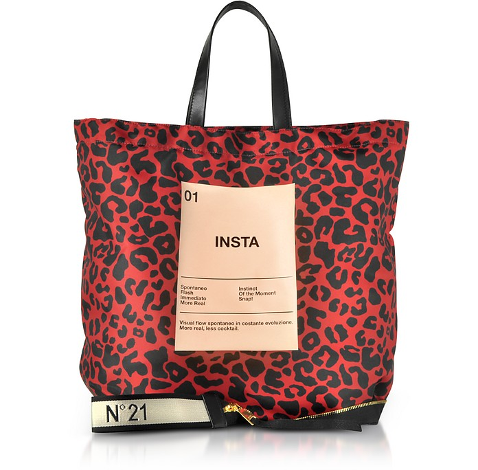 Red & Black Animal Print Nylon and Leather Big Foldable Shopper - N°21