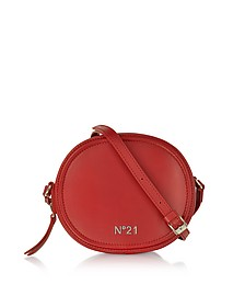 Coral Leather Tambourine Crossbody Bag w/Metallic Embossed Logo - N°21