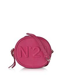 Fuchsia Leather Oval Crossbody Bag w/Embossed Logo - N°21