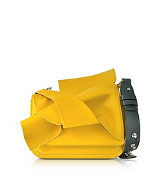 Small Yellow Leather Bow Shoulder Bag w/Dark Green Leather Shoulder Strap - N°21