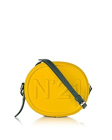 Yellow Leather Oval Crossbody Bag w/Embossed Logo - N°21
