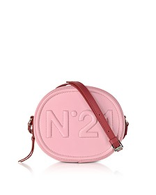 Pink Leather Oval Crossbody Bag w/Embossed Logo - N°21