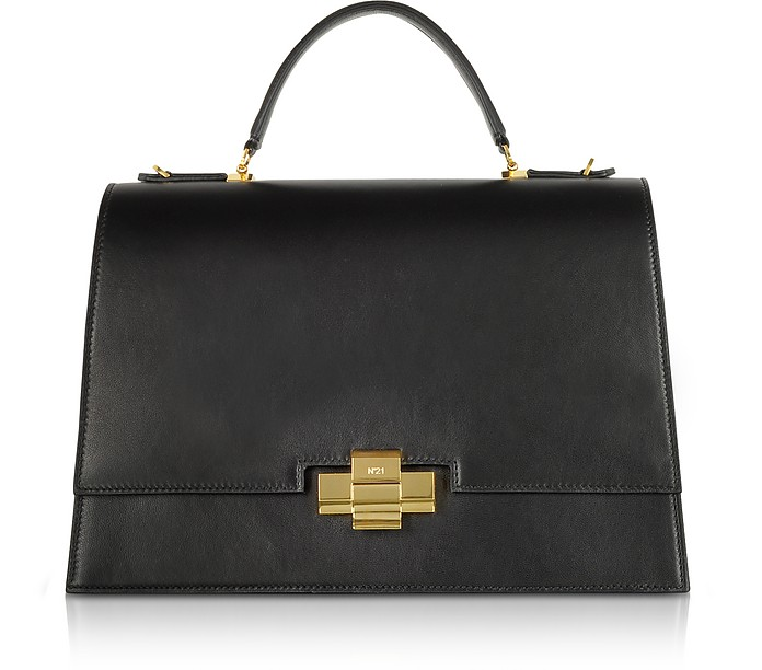 Black Leather Alice Top Handle Satchel Bag - N°21