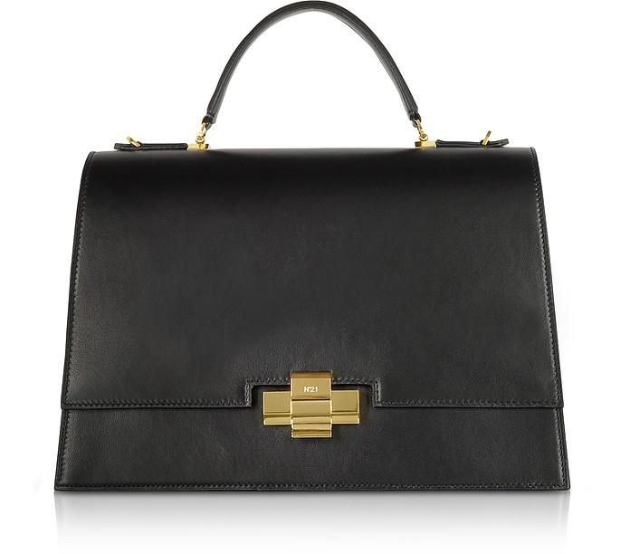 Black Leather Alice Top Handle Satchel Bag - N°21